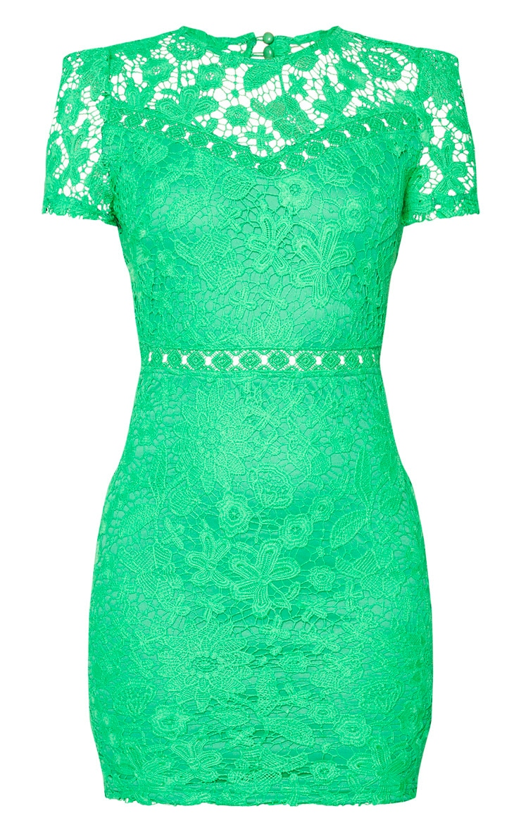 Green Lace Backless Cap Sleeve Bodycon Dress 5