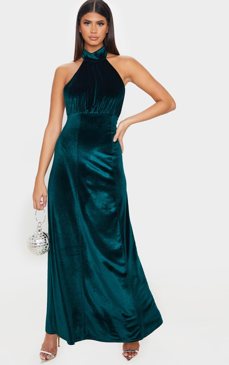 Emerald Green High Neck Halterneck Velvet Maxi Dress 1