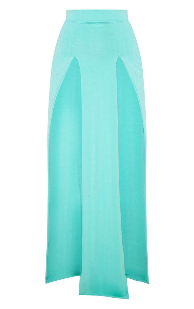 Light Blue Slinky Double Split Leg Maxi Skirt 3