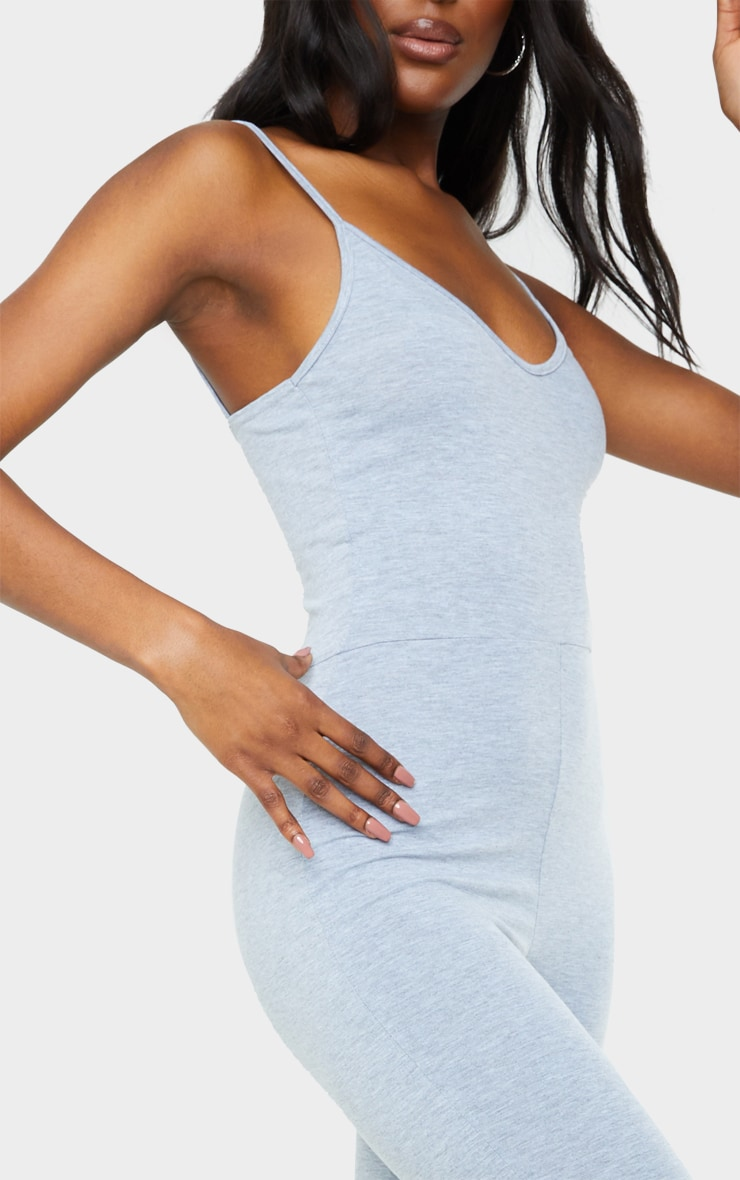 Tall Grey Marl Strappy Plunge Jumpsuit 4