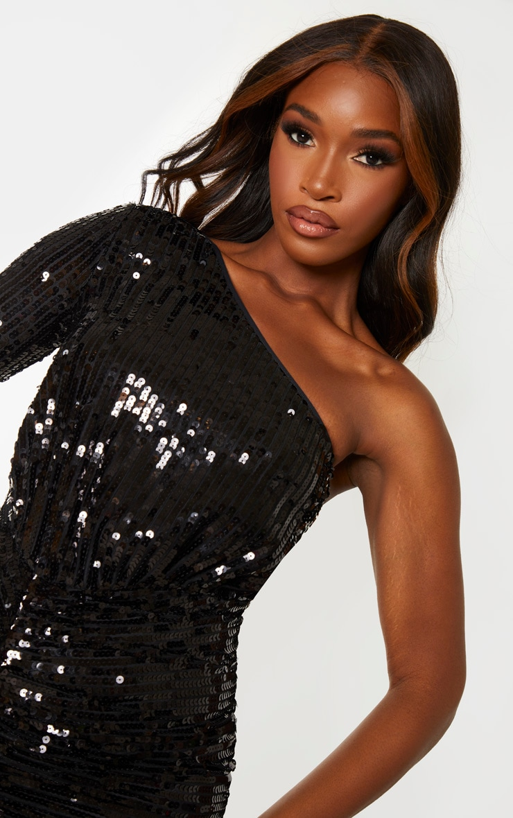 Black Sequin One Shoulder Bodycon Dress 5