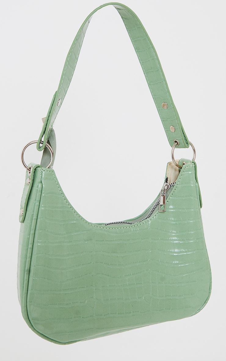 Green Oversized Croc Rounded Shoulder Bag image 2