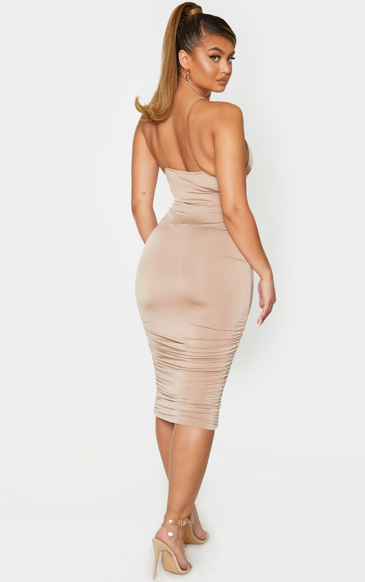 Taupe Slinky Ruched Clear Strap Midi Dress 2