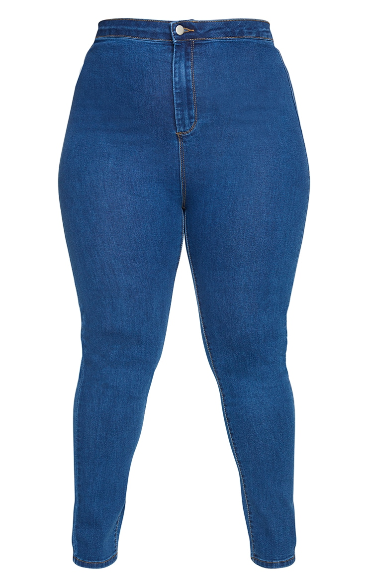PRETTYLITTLETHING Plus Mid Blue Wash Disco Skinny Jeans 5