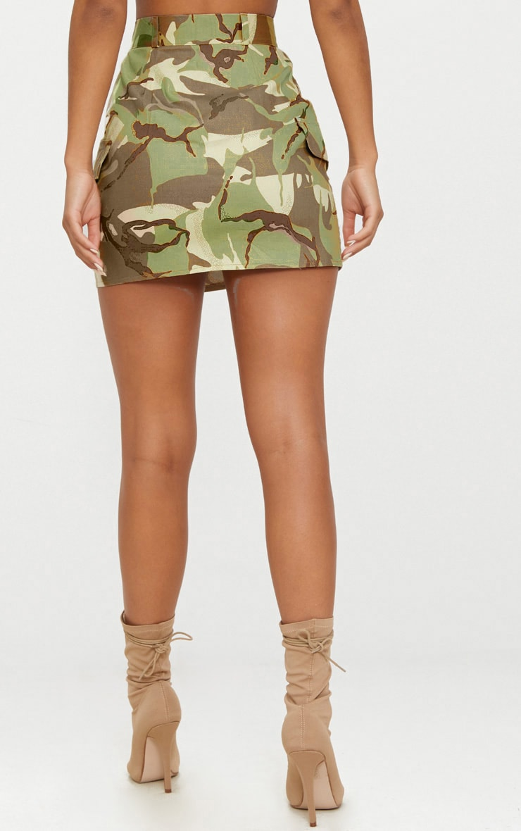 Khaki Camo Cargo Mini Skirt 4