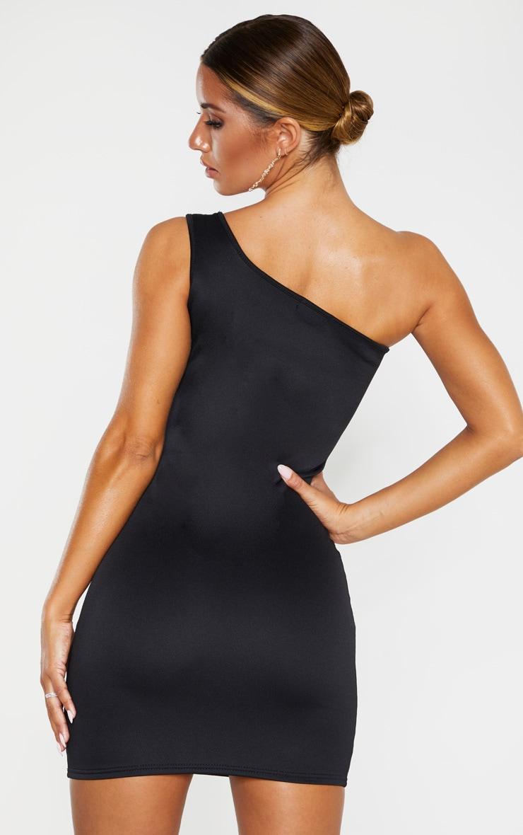 Black One Shoulder Strap Detail Bodycon Dress 2
