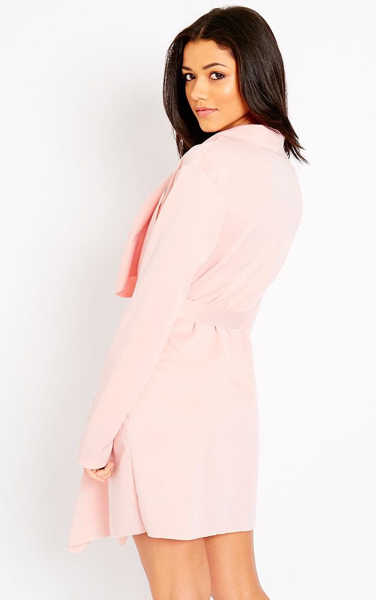 Livia Pink Lightweight Waterfall Belted Jacket 5