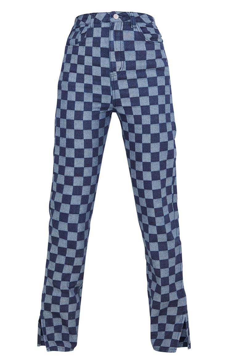 Tall  Blue Split Hem Checkerboard Jeans 5
