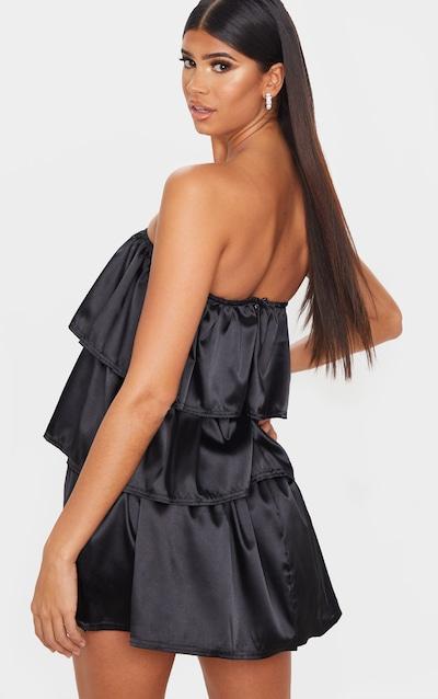 Black Satin Tiered Bandeau Shift Dress