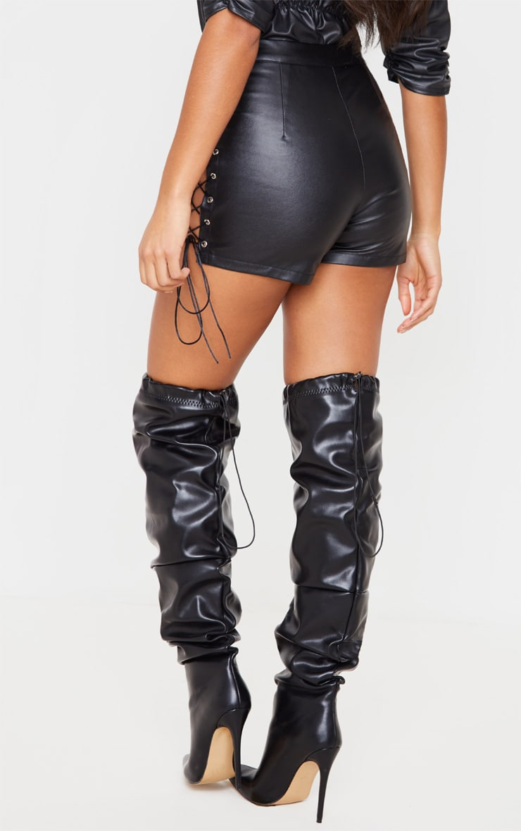 Black Faux Leather Lace Up Sides Short 4