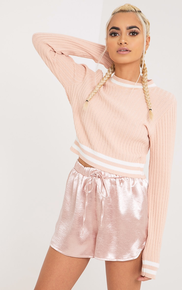 Zofia Nude Tipped Knitted Crop Top 1