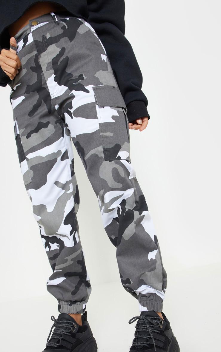 Petite Grey Camo Printed Cargo Pants 5