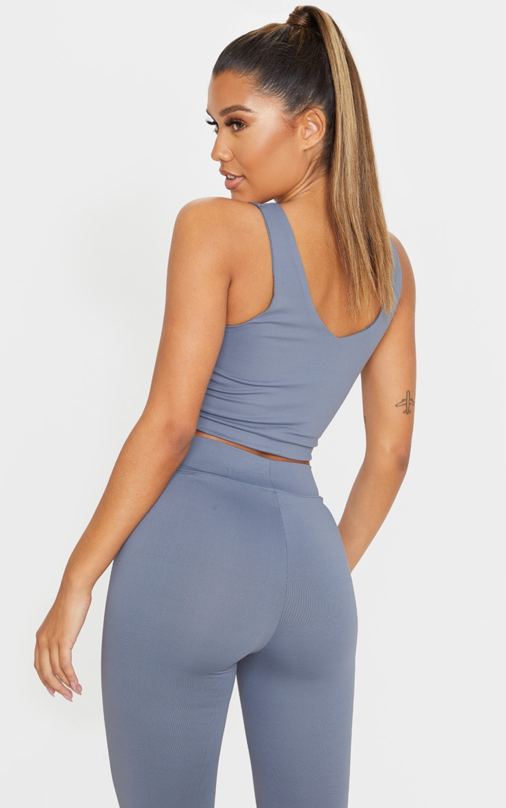 Charcoal Luxe Longline Cropped Sports Top 2