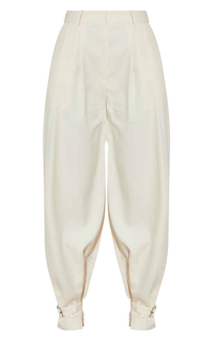 Cream Woven Buckle Cuff Straight Leg Pants 5