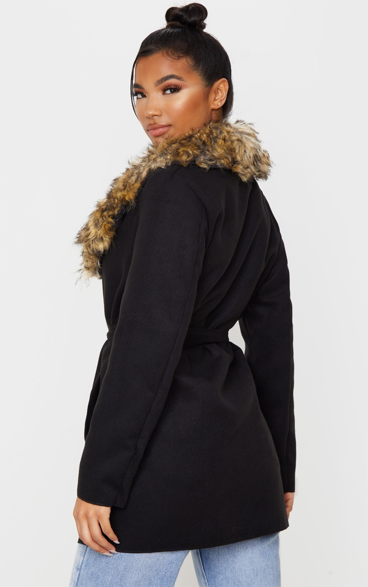 Lydia Black Faux Fur Trimmed Belted Coat 2