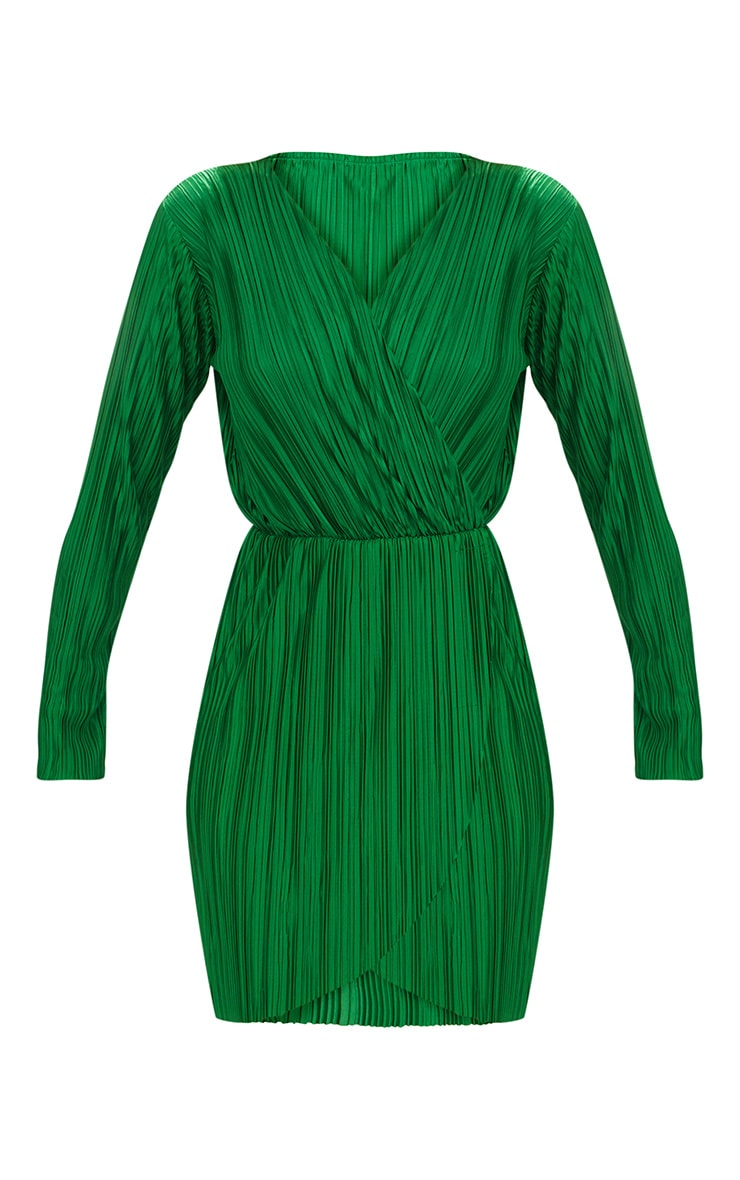 Green Long Sleeved Plunge Pleated Wrap Dress 3