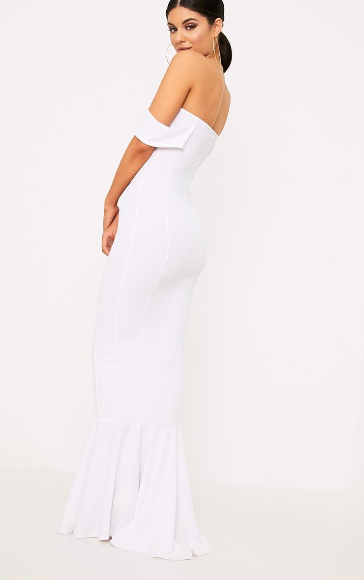 White Bardot Frill Hem Maxi Dress 2