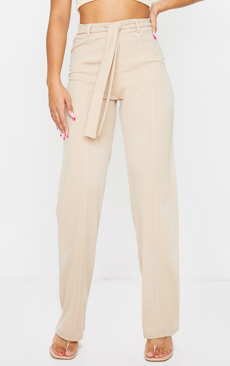 Stone Seam Front Belted Wide Leg Pants  2
