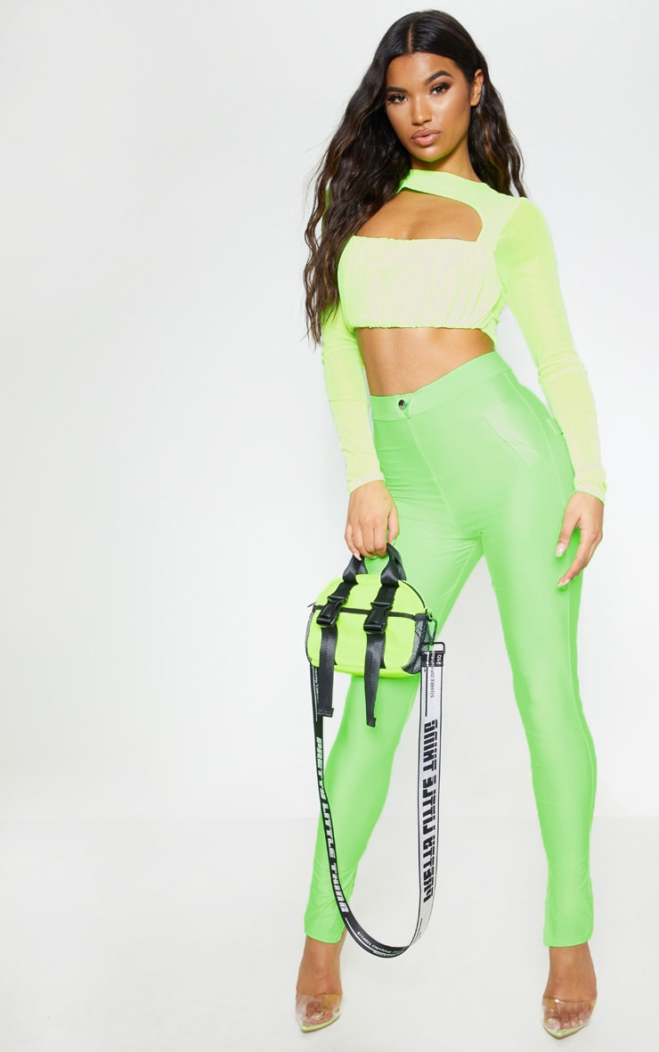 Neon Green Disco Split Hem Skinny Pants 1