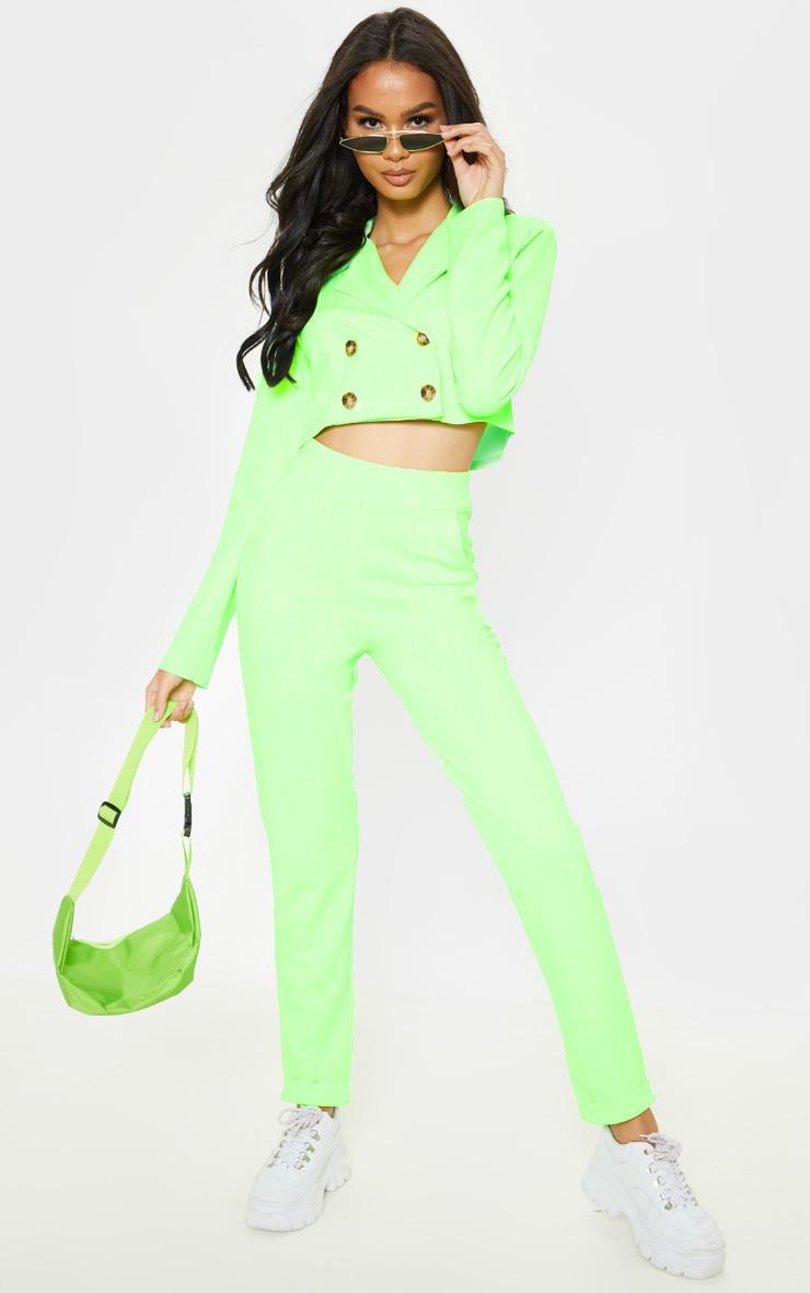 Neon Green Straight Leg Pants 1