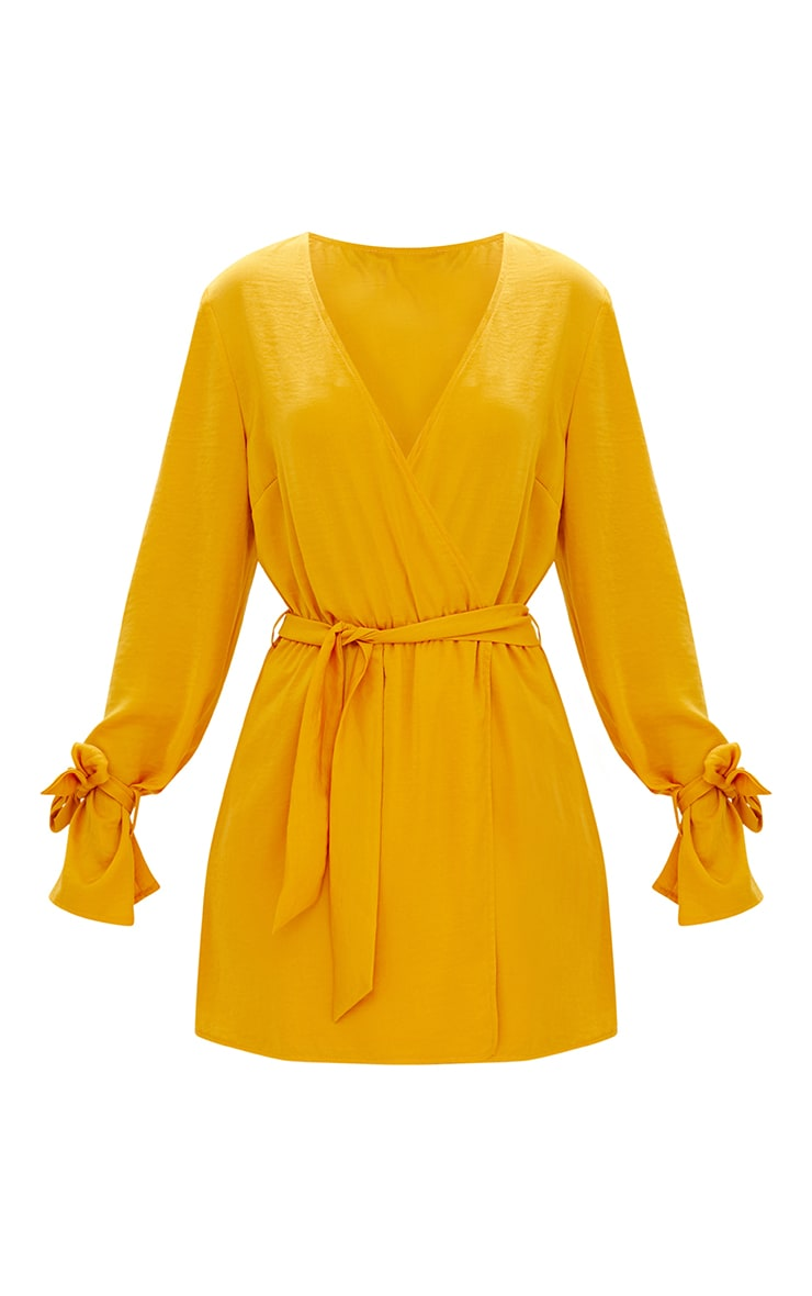 Mustard Satin Wrap Cuff Detail Shift Dress 3