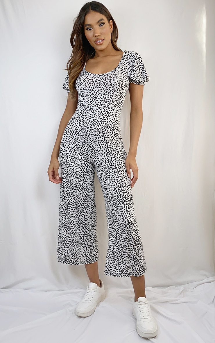 White Dalmatian Short Puff Sleeve Culotte Jumpsuit 1