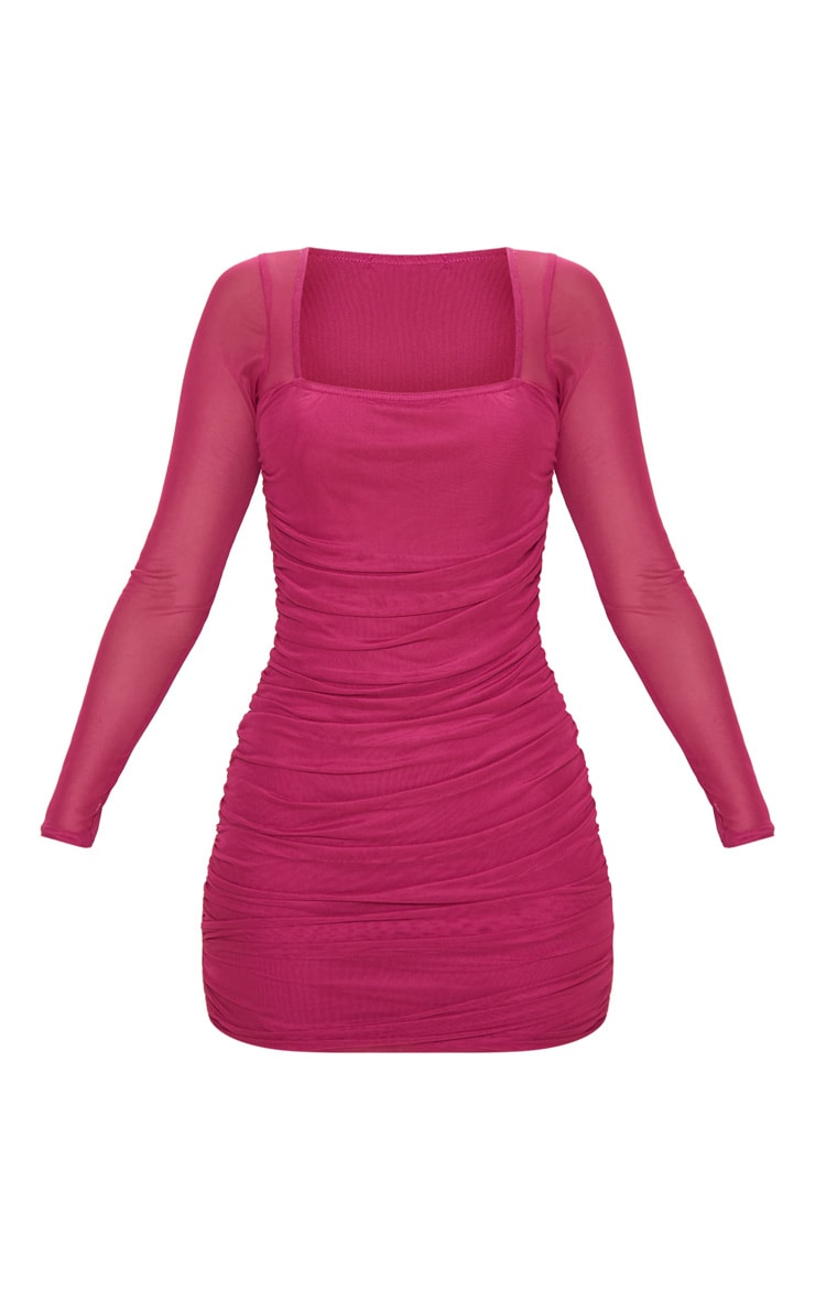 Hot Pink Mesh Square Neck Ruched Bodycon Dress 3