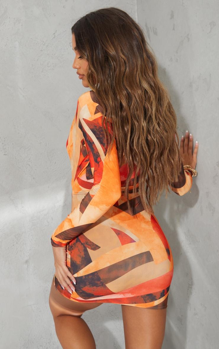 Robe moulante orange  imprimé abstrait découpée à col et manches longues 2