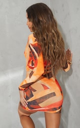 Orange Abstract Print Collared Cut Out Long Sleeve Bodycon Dress 2