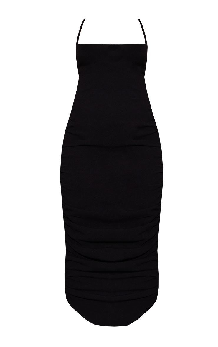 Black Woven Halterneck Ruched Skirt Tie Back Midaxi Dress 5