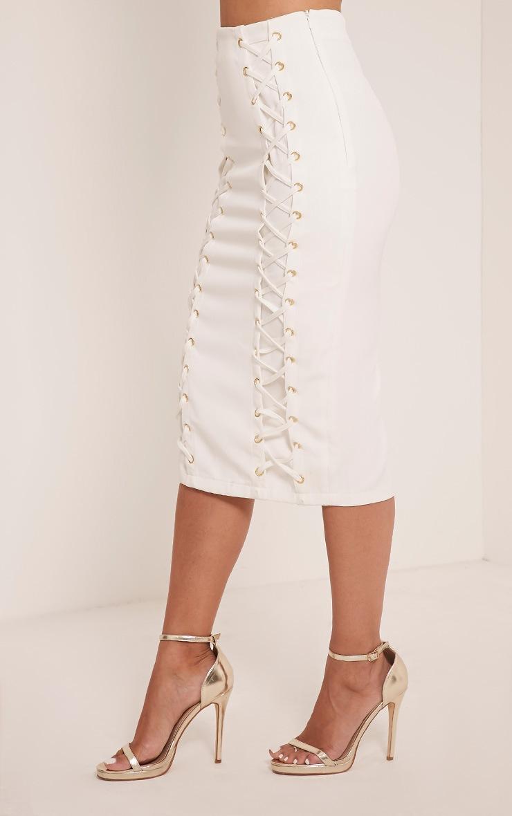 Haley White Lace Up Midi Skirt 4