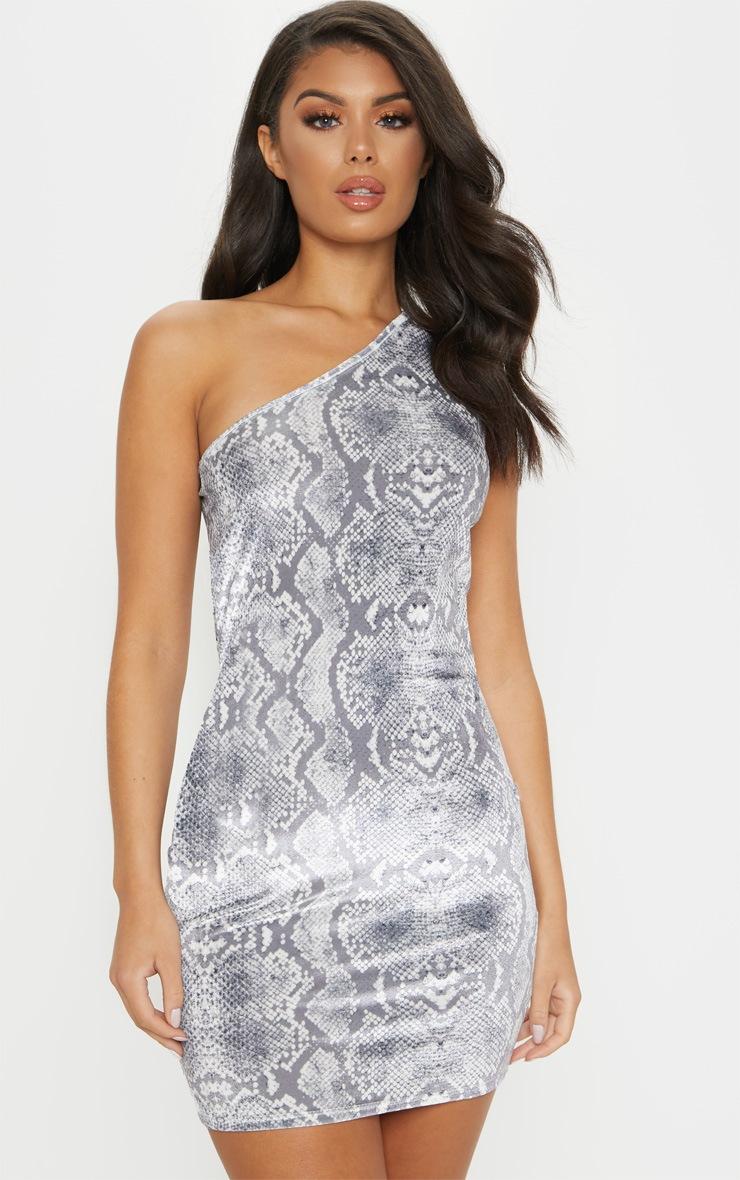 Grey Snake Print Velvet One Shoulder Bodycon Dress 4