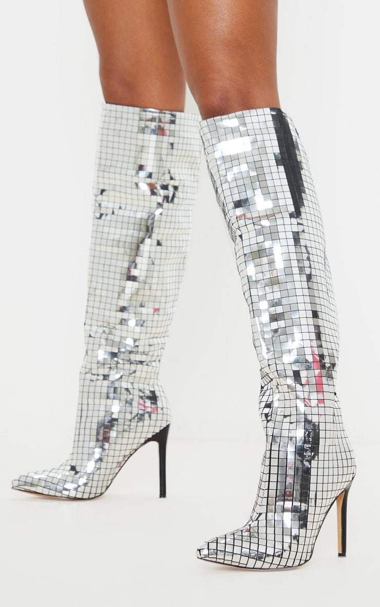Silver Disco Ball Knee High Boot 1