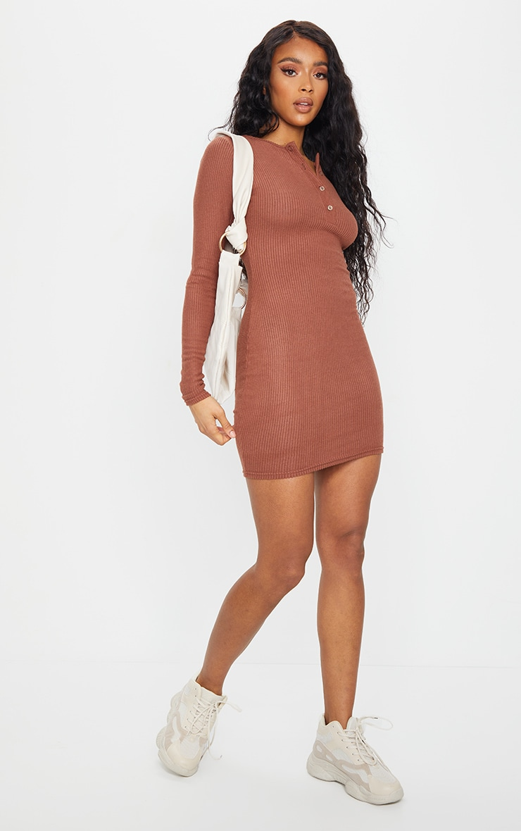 Chocolate Brushed Rib Long Sleeve Bodycon Dress 3