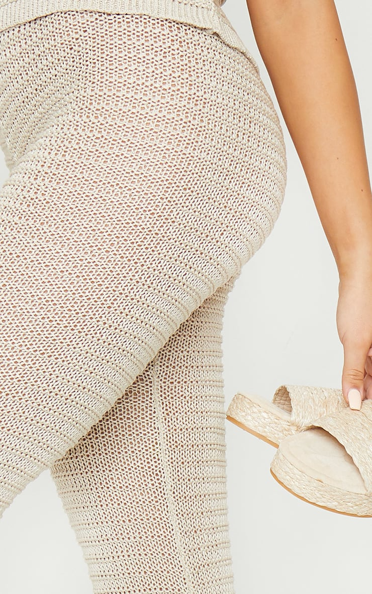 Stone Knitted Tape Yarn Flare Trousers 4