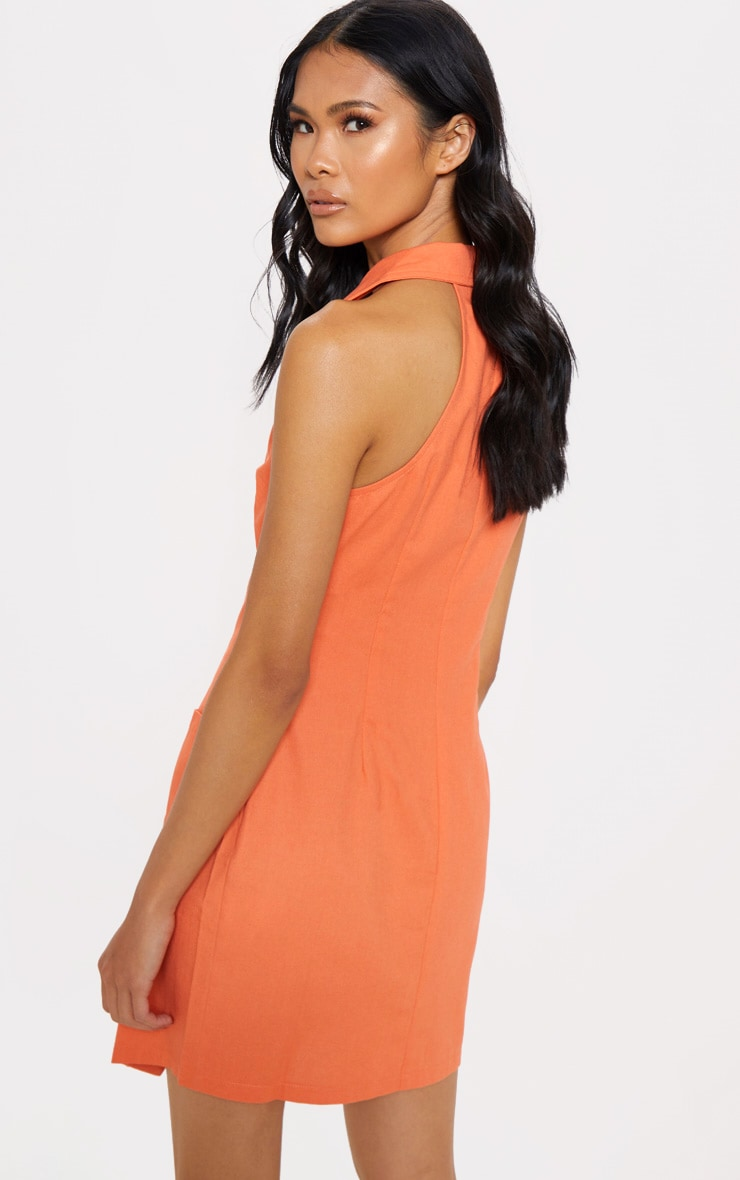 Tangerine Sleeveless Button Front Blazer Bodycon Dress 2