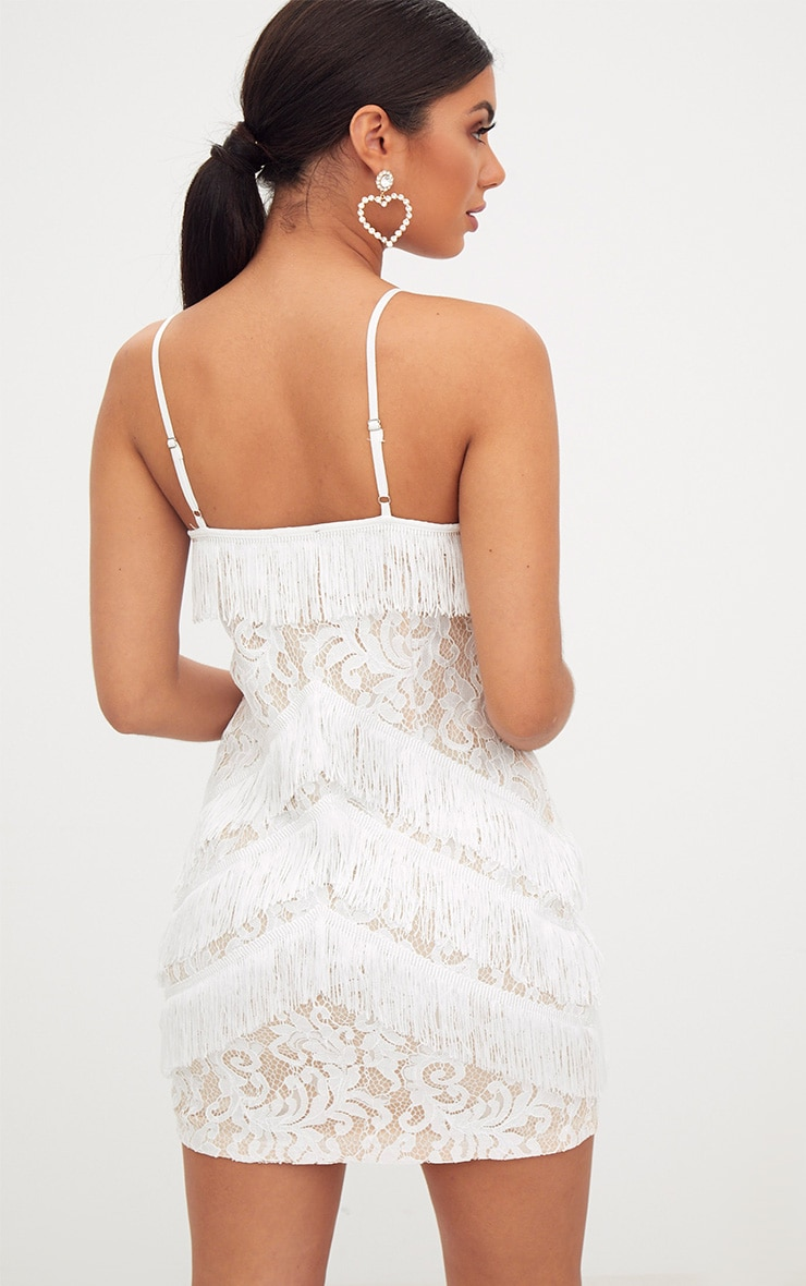 White Strappy Lace Tassel Detail Bodycon Dress 2