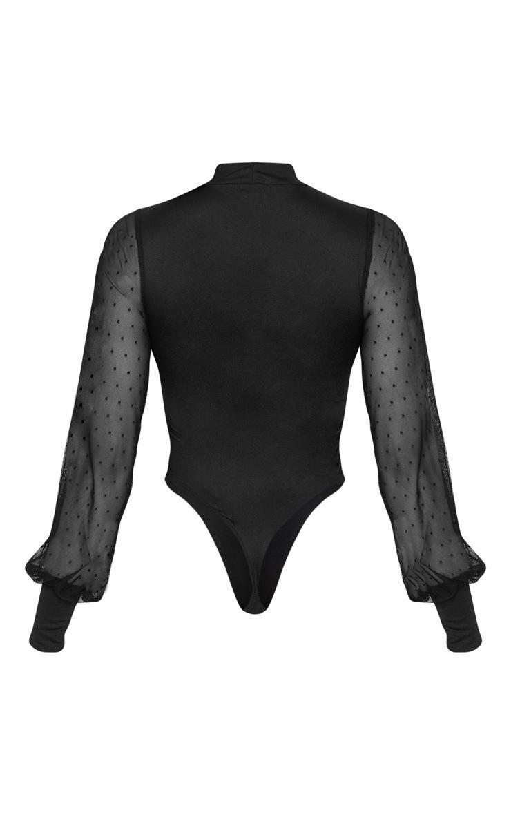 Tall Black Dobby Mesh Sleeve Bodysuit  4