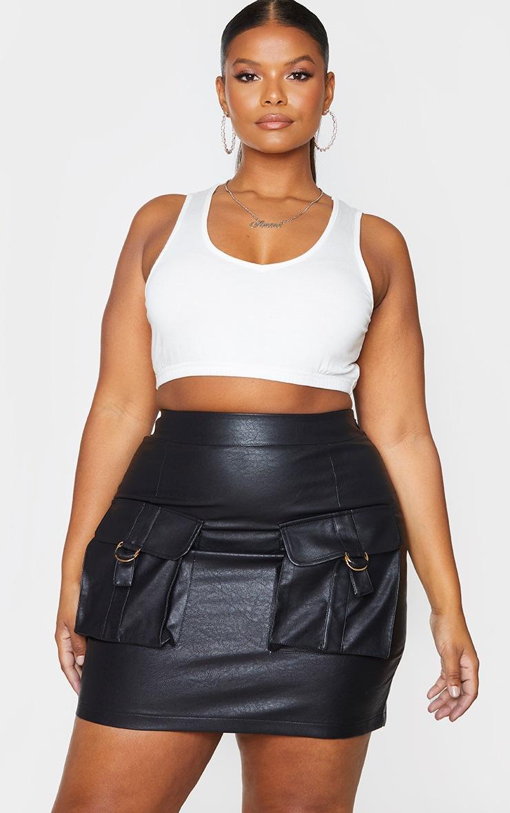 Plus Black Faux Leather Buckle Detail Bodycon Skirt 4