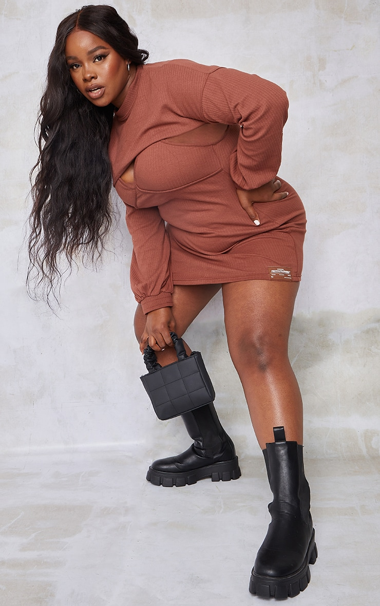 PRETTYLITTLETHING Plus Chocolate Cut Out Long Sleeve Bodycon Dress 3