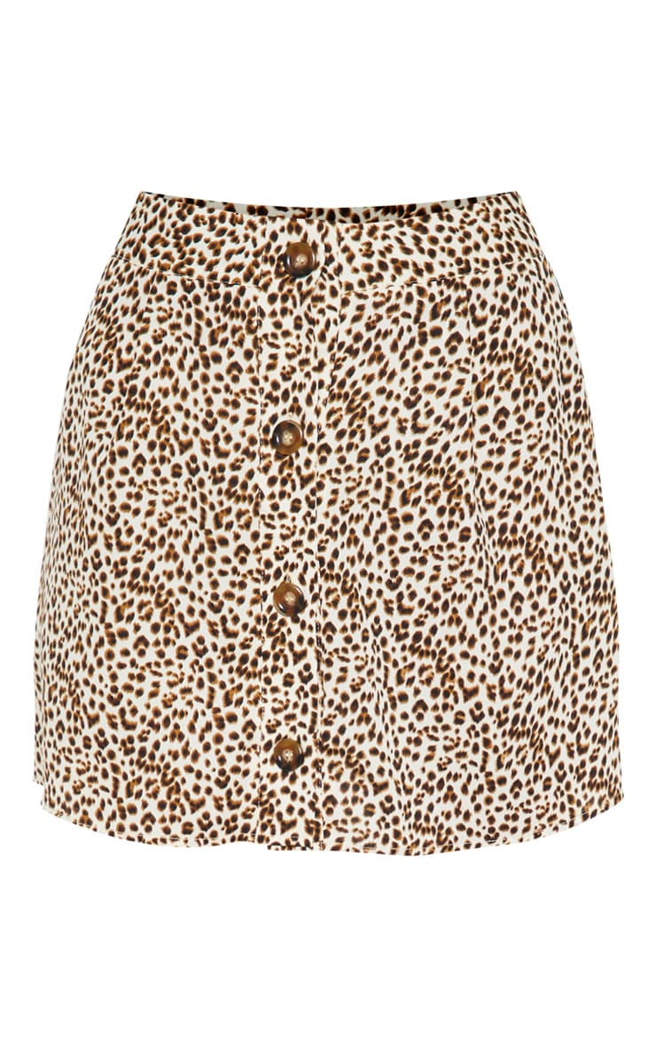 Cream Leopard Print Button Detail Mini Skirt 4