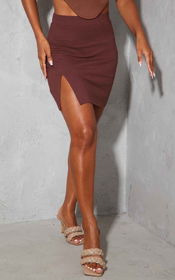 Chocolate Cotton Stretch Split Front Mini Skirt 2
