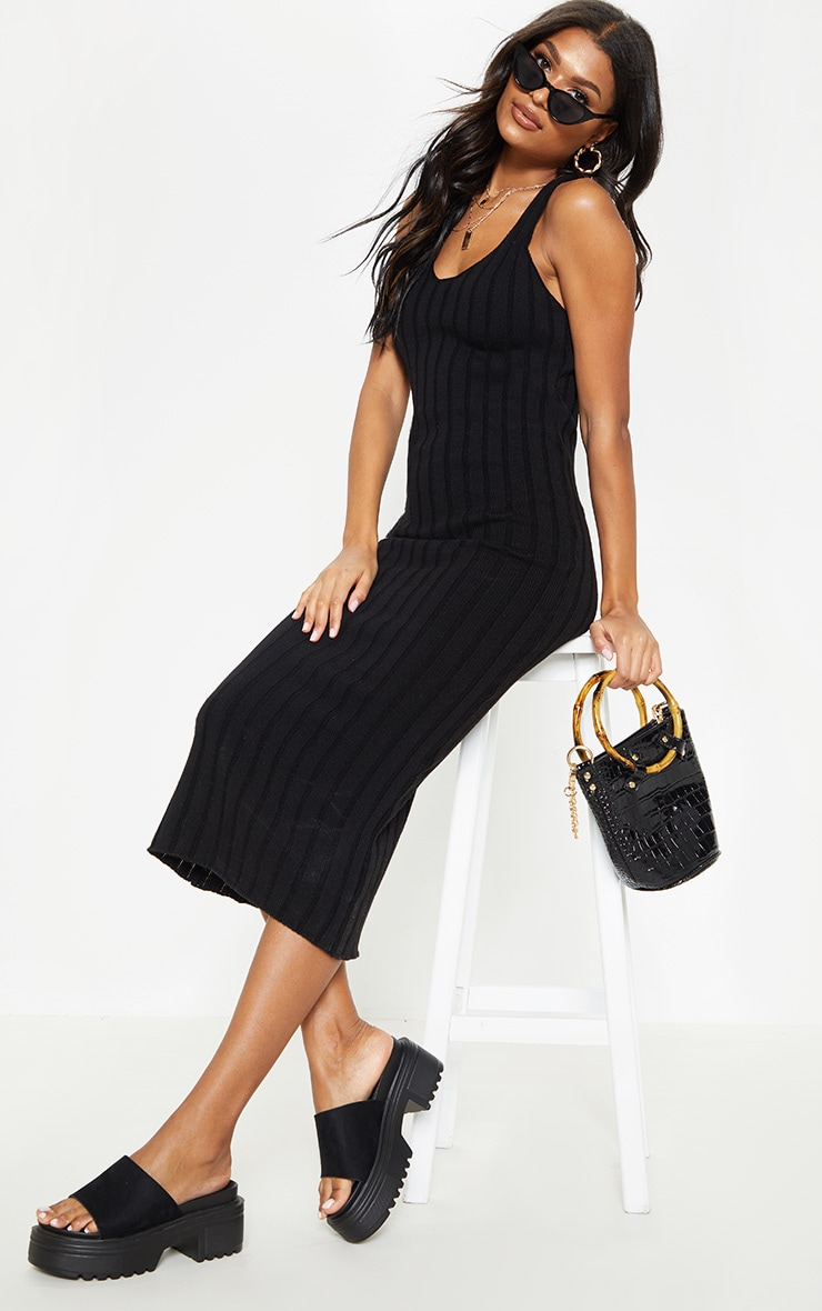 Black Ribbed Knitted Midaxi Dress 2