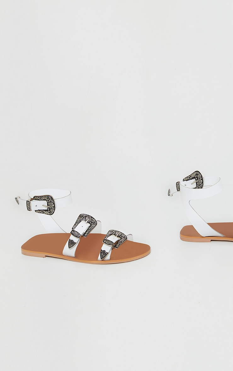 White Western Buckle Leather Sandal 4