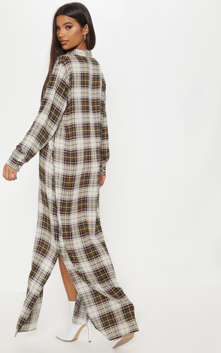 Khaki Check Print Oversized Maxi Shirt Dress 2