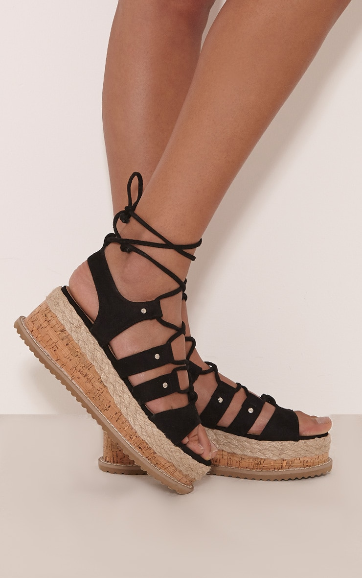Adelina Black Lace Up Flatform Sandals 2