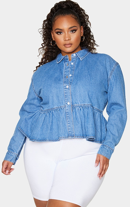 Plus Mid Blue Wash Denim Frill Hem Shirt 1