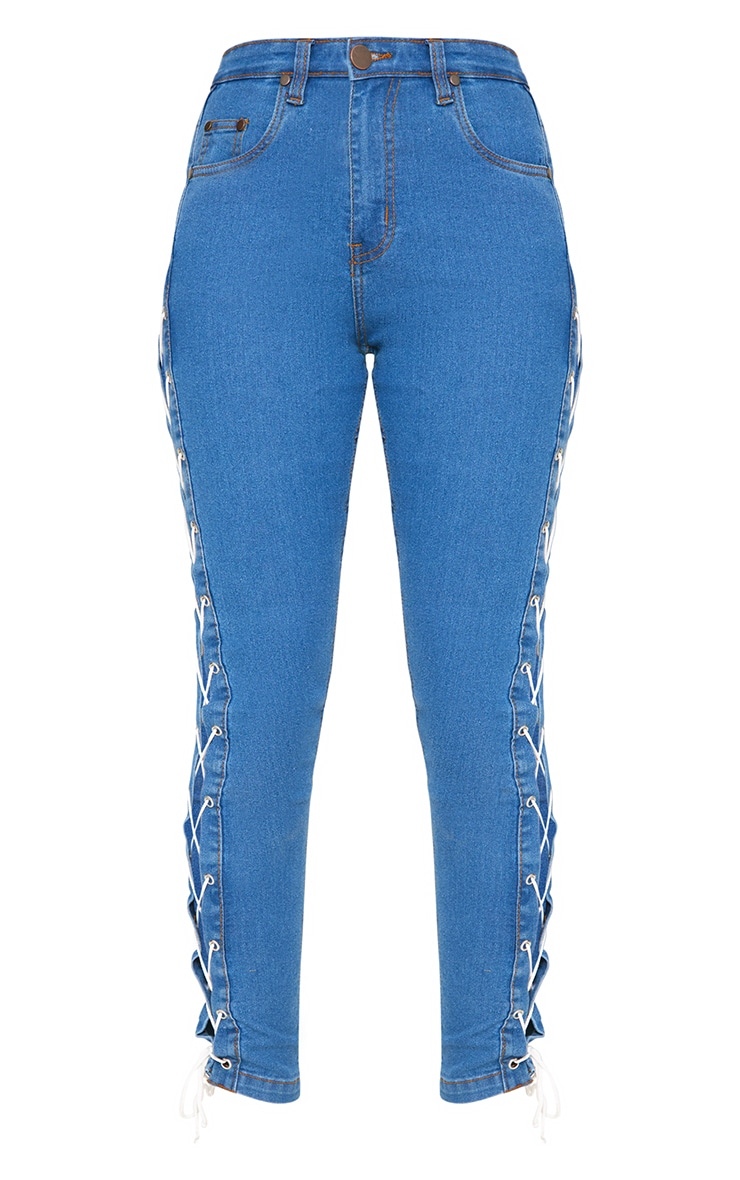 Mid Wash  Lace Side Skinny Jean 3