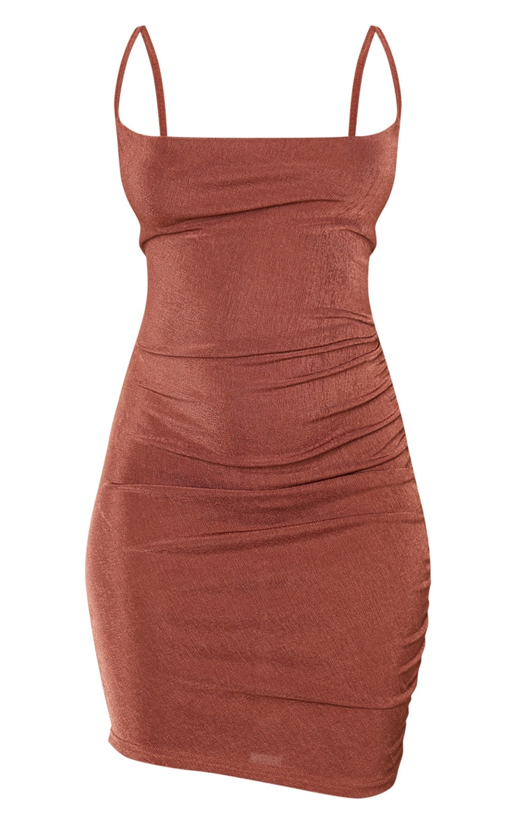 Chocolate Brown Textured Slinky Strappy Ruched Bodycon Dress 3