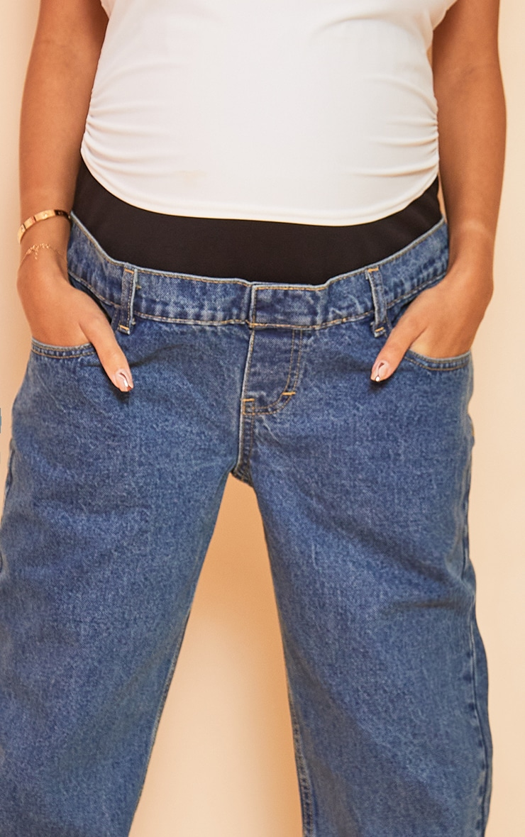 Maternity Blue Vintage Wash Mom Jeans 4
